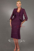 Grape Elegant Knee-Length grandmother of the bride dress cms-043
