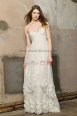 Informal Ivory High-low lace Empire Brush Train Beach wedding gowns nw-0273
