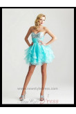 Sweetheart Tiered Ruched Crystal Beads Homecoming Dress nm-0274
