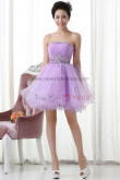 Lilac Ruched a-line Above Knee/Mini Hand beading homecoming dress nm-0185