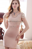 New Style Short Sleeves Pearl Pink Sheath Cocktail Dresses nm-0221