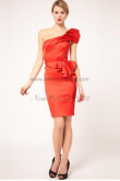 One Shoulder Sheath Sexy Watermelon Red Ruched Party Dresses nm-0036