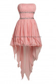 Pleat Pink Chest with beading Tiered Asymmetry Pleat Above KneeMini Homecoming dresses nm-0012