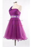 Purple popular Sashes With beading Glamorous One Shoulder With a bow Tiered Homecoming Dresses nm-0093