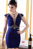 Royal Blue/off-white hip package Chest With beading Gorgeous prom dress nm-0241