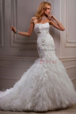 Ruched Mermaid lace Sheath Glamorous Strapless Chest Appliques wedding dresses nw-0190