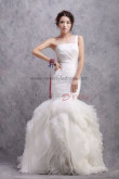 Ruched One Shoulder Mermaid Lace Up Sweep Train Wedding Dresses nw-0176