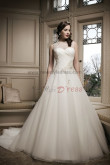 Sheer Straps Sweetheart Crystal Back Design Button a-line 20 Inch Train wedding dress nw-0126