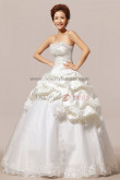 Strapless Ruffles Chest Appliques Tulle Ball Gown Wedding Dresses nw-0056