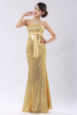 Gold Strapless Sequins Mermaid Prom Dresses long Discount nm-0174
