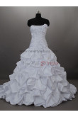 Sweep Ruched Lace Draped Gorgeous Strapless Satin Lace Up Wedding dresses nw-0027