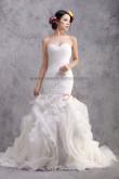 Ruffles Sheath Mermaid Glass Drill Sashes Lace Up Glamorous Wedding Dresses nw-0200