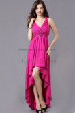Tank V-neck rose red Chest With beading High-low Cocktail Dresses np-0353