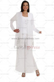 White Elegant Embroidery 3 Sets Fashion Mother Of The Bride Pants Suit nmo-119