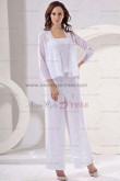 White Modern Long Sleeves 3 Sets Elastic pants Mother Of The Bride Pants Suit nmo-120