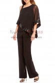 Asymmetrical Overlay Top Pant suits for Mother of the bride with Sequins end nmo-397