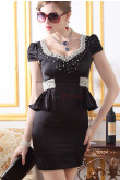 Balck/Ivory Short Sleeves Chest With beading Package buttocks Gorgeous Party Dresses nm-0252