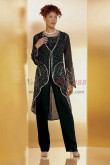 Black Beaded Trousers outfit Mother of the bride pant suit Wear nmo-433