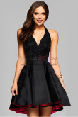Black Deep V-Neck Halter Sexy Homecoming Dresses nmo-340