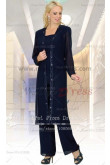 Dark Navy mother of the bride pants suits with classic long shirt nmo-051