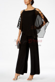 Black Overlay Top Mother of the bride pants suits Chiffon Two piece outfit 2019 New style nmo-377