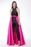 Black Sexy Prom Jumpsuits with detachable Cocktail Dresses wps-182