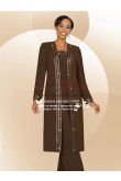 Brow chiffon three piece outfit mother's pant suits with long coat dresses for wedding nmo-195