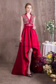 Burgundy Evening dresses Delicate Beaded Satin Gown Hi-Lo NP-0373