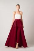 Burgundy Satin prom dress Strapless jumpsuit with skirt vestido de fiesta wps-188