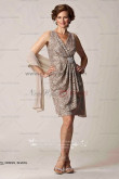 champagne Loose two piece lace mother of the bride dress with chiffon shawl cms-039