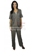 Charcoal Gray Chiffon outfits Mother of the bride pant suits with lace jacket nmo-235