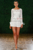 Charming lace Bridal jumpsuit with Long Sleeves Wedding short pants wps-045