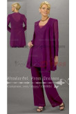 Cheap Purple Chiffon Three Piece mother of the bride dress pants sets nmo-069