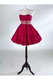 Chest with beading Cheap Red/Fuchsia Above Knee/Mini Satin Homecoming dresses nm-0022