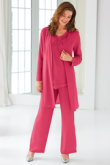 Classic Rose red Beaded Mother of the bride Pant suit dress with Jacket outfits nmo-439