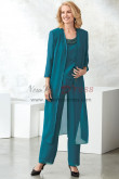Dark green Mother of the bride pantsuit Layered dress with Long coat nmo-452
