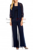 Dark navy Elegant 3 Pieces Mother of the bride pants suits with jacket nmo-400