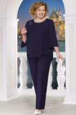 Plus size Comfortable Mother of the bride pant suits Elastic waist Trousers women's outfits nmo-571