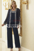 Dark Navy Elegant mother of the bride pant suits customize nmo-176