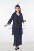 Dark Navy lace Mother of the bride dress Stretchy Waist nmo-289