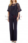 Dark navy Sequins Lace Overlay Top Trousers set Mother special occasion wear nmo-403