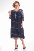 Dark Navy Tea-Length Mother Of The Bride Dress Plus Size Women's Dresses nmo-725-2