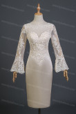 Under $100 Dressy Champagne Lace Long Sleeves Mother Of The Bride Dresses nmo-732