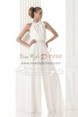 Jewel bride dress pantsuits white chiffon jumpsuit wps-004