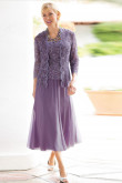 Elegant Lavender Mother of the bride dresses with  jacket High-end 3-PC outfit nmo-469