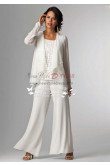 Elegant white Mother of the bride pants suit with jacket nmo-153