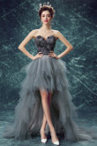 Charcoal gray Feathers Hi-Lo Prom gown Cocktail Dresses nmo-556