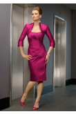 Fuchsia Sheath Knee-Length Glamorous Mother of the bride suit dress cms-037