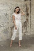 Glamorous Lace Wedding Jumpsuits Modern Mid-Calf Bride outfits wps-233