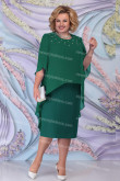 Green Chiffon Mid-Calf Mother Of The Bride Dress, Plus Size Women's Outfits nmo-724-2